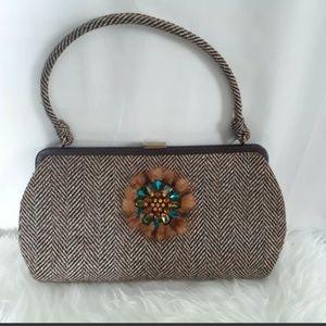 Anthropologie Ipa Nima Brown Tweed Jeweled Handbag